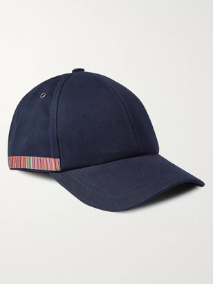 Paul Smith Leather-Trimmed Striped Organic Cotton-Twill Baseball Cap