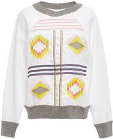 Cynthia Rowley White Aztec Embroidered Sweatshirt