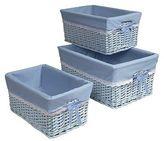 Badger Basket Badger Decorative Basket with Blue Liners Set of 3