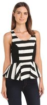 Autograph Addison Women's Moore Mixed Stripe Sleeveless Back Zip Peplum Top
