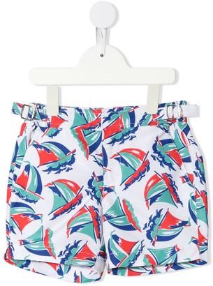 Orlebar Brown Kids Russell boat print swim shorts