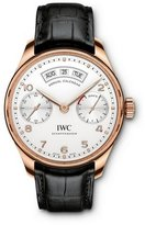 IWC Men's Portugieser Black Leather Band Rose Gold Plated Case Automatic White Dial Analog Watch IW503504