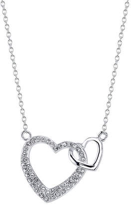Footnotes Crystal Sterling Silver 18 Inch Cable Heart Pendant Necklace