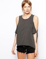 ASOS T-Shirt with Cold Shoulder in Acid Wash
