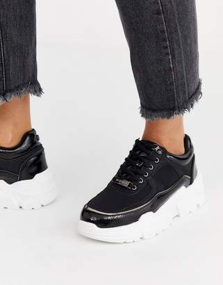 Head Over Heels By Dune Evina black chunky mixed material trainers