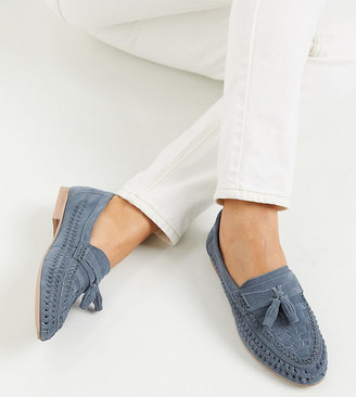 ASOS DESIGN Wide Fit Marble suede weave flat shoes in blue
