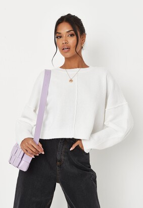 Missguided Recycled White Co Ord Seam Front Jumper