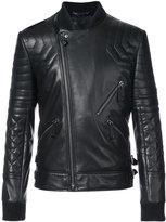Philipp Plein crystal skull biker jacket - men - Lamb Skin - S