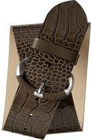 Wide croc-embossed belt