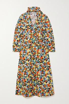 Ganni Tie-neck Floral-print Cotton-poplin Midi Dress - Red