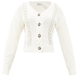 Self-Portrait Crystal-button Cable-knit Cotton-blend Cardigan - Ivory