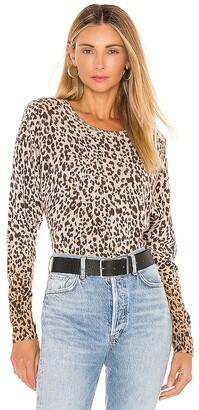 White + Warren Ombre Leopard Sweatshirt