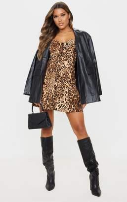 PrettyLittleThing Tan Leopard Print Button Front Long Sleeve Shift Dress