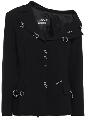 Boutique Moschino One-shoulder Barbell-embellished Stretch-crepe Jacket