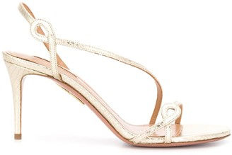 Aquazzura Snakeskin-Effect Strappy Mid-Heel Sandals