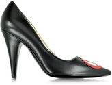 Moschino No Heels Black Leather Pump