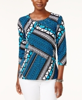 Alfred Dunner Petite Patchwork-Print Top
