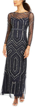 Adrianna Papell Long-Sleeve Mesh Sequin Gown