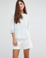 Darling Scallop Hem 3/4 Sleeve Top