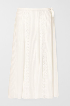 Chloé Lace-trimmed Pintucked Silk-georgette Midi Skirt - Off-white