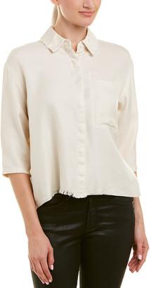 Drifter Boxy Silk & Wool-Blend Buttondown Top