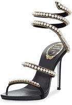 Rene Caovilla Pearly & Crystal Snake 105mm Sandal, Black