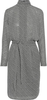 Joie Anastasia Belted Houndstooth Crepe De Chine Dress