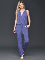 Split-neck print jumpsuit
