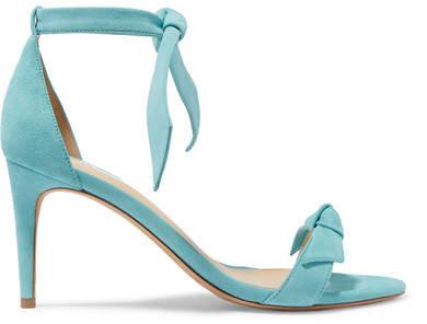 Alexandre Birman Clarita Bow-embellished Suede Sandals - Sky blue