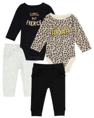 Garanimals Baby Girl Long Sleeve Bodysuit & Sweatpants Multi Pack, 4-Piece