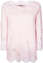 Ermanno Scervino lace trim sweatshirt - women - Silk/Cotton/Polyamide/Wool - 40