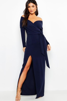 boohoo Off The Shoulder Split Maxi Bridesmaid Dress