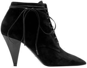 Saint Laurent Bow-detailed Suede Ankle Boots
