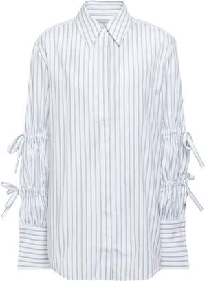 Victoria Victoria Beckham Victoria, Victoria Beckham Bow-embellished Striped Cotton-poplin Shirt