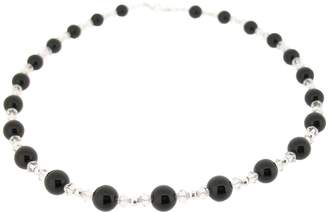 Earth Black Onyx and Swarovski Crystal Beaded Necklace at 45cm in Length