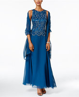 J Kara Embellished Scalloped A-Line Gown