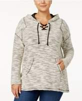 Style&Co. Style & Co Plus Size Space-Dyed Lace-Up Hoodie, Created for Macy's