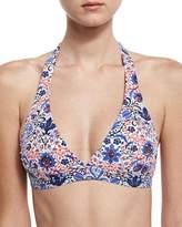 Letarte Embellished Halter Swim Top, Multiprint