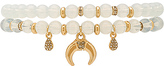 Ettika Beaded Bracelet Set in White.