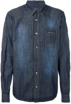 Philipp Plein ribbed panel denim shirt