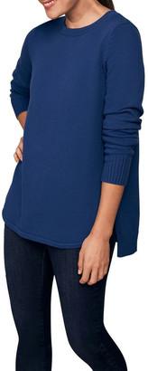 Blue Illusion Stitch Detail Cotton Knit
