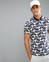 Ted Baker Golf Polo Shirt In Palm Print