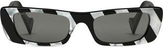 Gucci Rectangular Striped Acetate Sunglasses