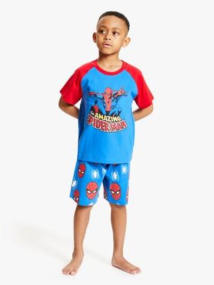 John Lewis & Partners Spider-Man Shorty Pyjama Set, Blue