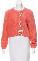 Tibi Cropped Lace-Up Sweater