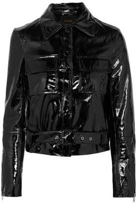 Maje Bliza Cropped Crinkled Patent-leather Jacket