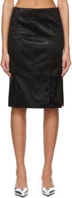 Kwaidan Editions Black Bonded Satin Faceted Mid-Length Skirt