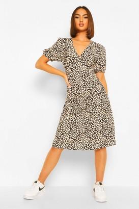 boohoo Animal Print V Neck Midi Dress