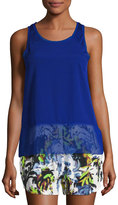 French Connection Satin-Inset Raw-Edge Chiffon Tank, Blue