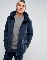 Pull&Bear Navy Parka With Double Pockets In Navy